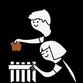niños hoja de árbol y papelera