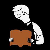 hombre con una revista