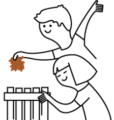 niños con hoja de arbol y papelera