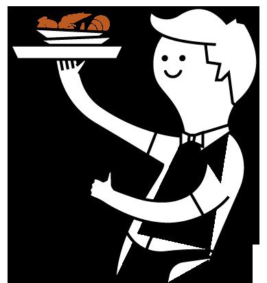 camarero con plato de marisco