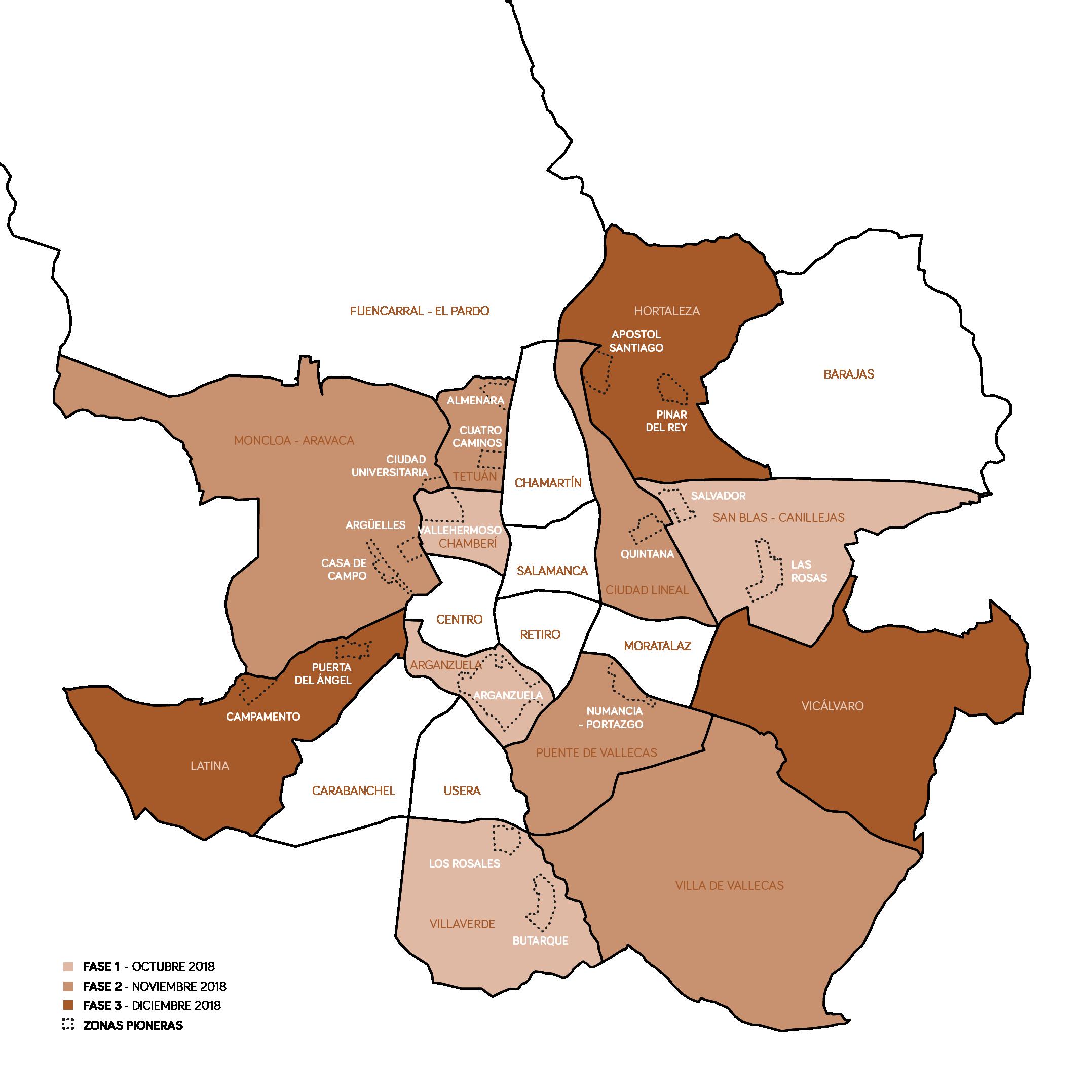 mapa de los 12 distritos con recogida orgánica